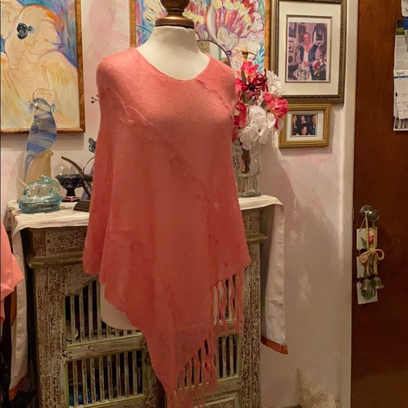 Energie Other - OS SHEER LIGHT KNIT PINK PONCHO NWT $15